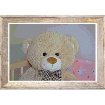Teddy Bear Cross Stitch Pattern Pink