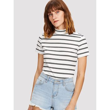 Mock Neck Striped Tee Black and White