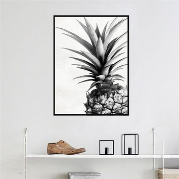 Creative  Scandinavian Decorative Summer Pineapple on Canvas Art Print Wall Painting Wall Poster for Living Room Bedroom Home De