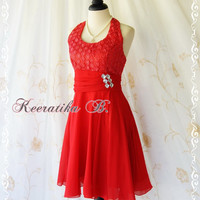 Bella Dance Halter Dress - Red Color Halter Cocktail Dress Prom Party Bridesmaid Dress Homecoming Anniversary Dress Small