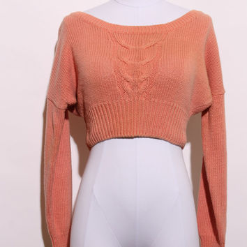 vintage 90s cropped sweater / 1990s crop sweater / 90s pink sweater / 1990s cable knit pullover / oversize knit / size small / K16