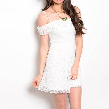 Lace & Ruffle Off Shoulder Fit & Flare Dress in Ivory