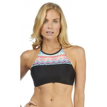 HOBIE DECO STRIPE HIGH NECK CROP BIKINI TOP :: 2015 SWIM :: SWIM SHOP :: WOMENS :: Hobie Surf Shop