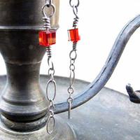 Sterling Silver Red Crystal Bead Chain Dangle  Earrings Silver chain # E4