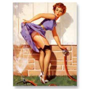 Vintage Retro Gil Elvgren Pin Up Girl Post Card