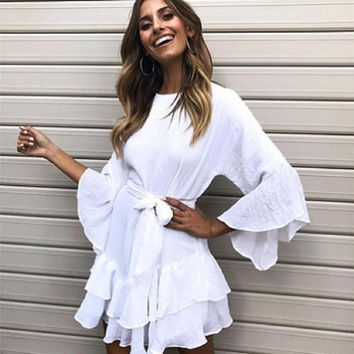 Hot Summer Hit Formal Ruffle Mini Dress Cotton Sashed White Elegant Party Dresses Women Fashion Sundress Long Sleeve