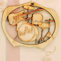 Unique Drum Set Ornament, Drum and Guitar Ornament, Band Gift, Unique Drum Gift, Musician Christmas Decor