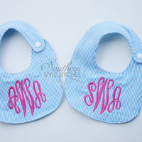 TWO Custom bibs, Personalized bib, Monogrammed bib, Baby shower gift, Seersucker bib, You Customize