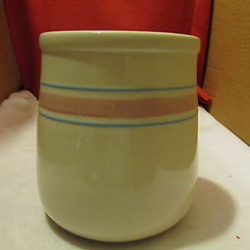 VINTAGE BANDED McCOY CROCK WITH PINK AND TURQUOISE BANDS