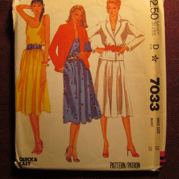 Uncut 1980's McCall's Sewing Pattern, 7033! Size 16 Medium/Large/Women's/Misses/Flared Dress/Sleeveless Dress/Loose Fitting/Knee Length