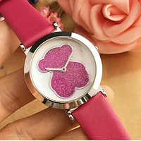 Tous Dazzle Colour Series Summer Ladies Lovely Shiny Bear Movement Watch Wrist Watch Rose Red I12599-1