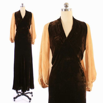 Vintage 30s Evening GOWN / 1930s Draped Brown Velvet Bias Cut Balloon Sleeve DRESS XS