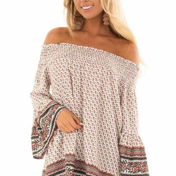 Ivory Floral Print Smocked Off the Shoulder Top