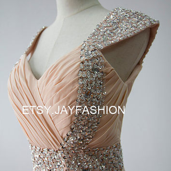 Champagne Long Chiffon Bridesmaid Dress / Prom Dress / Wedding Dress with Beaded Cap Sleeves Cheap evening dress party dress