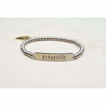 Solid Stainless Steel Beaded Hashtag Bracelet - Cheer Life