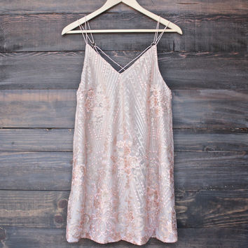 shine bright like a diamond mini dress - embellished rose gold
