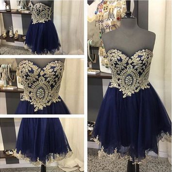 Navy Blue Homecoming Dress, Short Lace Homecoming Dress with Bearls