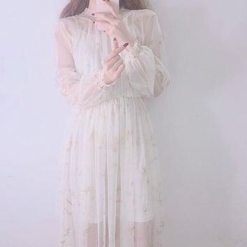Luxury Women for Dress Summer korean Super cents Moon and stars embroidered gauze dress Sexy Vadim Plus Size Two-piece Dresses