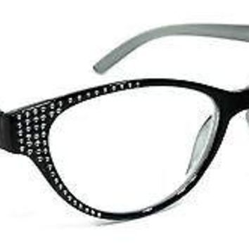 WOMEN CAT EYE READING GLASSES SKY RHINESTONE VINTAGE SPRING HINGES BLING FRAME