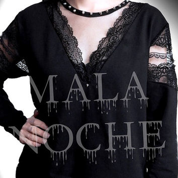 Lace shirt, Lace Hoodie,Occult, Witchy, Black Hoodie lace, goth shirt, spikes shirt, goth