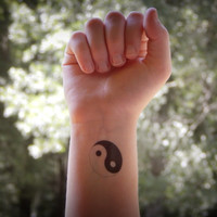 Temporary Tattoo - Yin Yang Tattoo - Yin and Yang