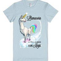 Llamacorn: It's Love (Juniors)-Female Light Blue T-Shirt