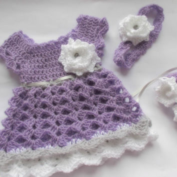 Lilac Baby dress headband shoes purple lavender baby clothes first outfit take home hospital matinee infant frock newborn dress