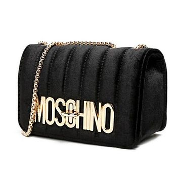 MOSCHINO Fashionable Women Velvet Metal Chain Shoulder Bag Crossbody Satchel Black