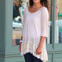 Ruffled Lace Knit Top {Tan}