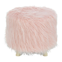 Benzara Faux Fur Wood Foot Stool Ottoman