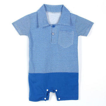 Infant Boys Lapel Playsuit Short Sleeve Baby Kids Cotton Jumpsuit Fashion SM6