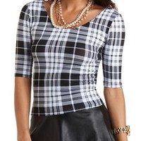 Plaid Caged-Back Crop Top by Charlotte Russe