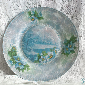 Decorative Plate Blue Flowers And Winter Landscape Handmade Home Decor Serving Plate Christmas Gift