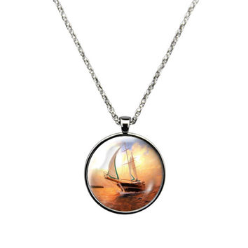 Ship at Sea- Necklace Jewelry stainless steel casing crystal glass pendant with a ship at sea print.