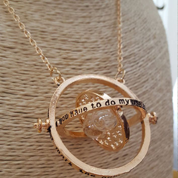 Gold plated Long necklace Rotating Sand Clock Pendant Statement necklace