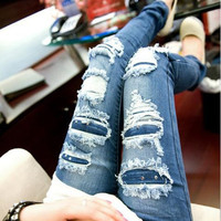 Summer Women Sexy Holes Denim Slim Jeans = 1930367300