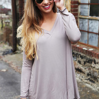 The Easy Going V-Neck Tunic {Mocha}