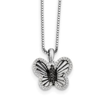 Black   White Diamond 17mm Butterfly Necklace in Sterling Silver 3f49e4fa1a1c