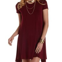 Wine Paneled Trapeze T-Shirt Dress by Charlotte Russe