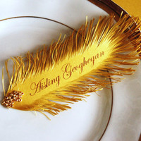 gold FEATHER Wedding place cards - Great Gatsby style inspiration
