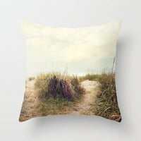 eat sleep beach Throw Pillow by Sylvia Cook Photography