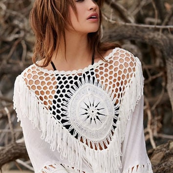 Femme Boho Gland Tricot Crochet Cape Poncho Haut 3/4 sleeve cover up women pollover knitting