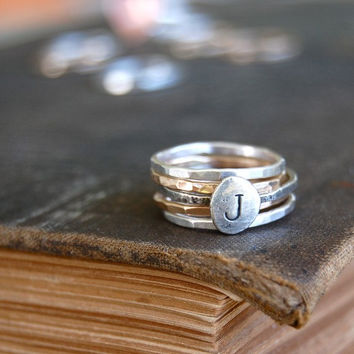 Monogrammed Sterling Silver and 14K Gold Fill Stacking Rings - Set of 5 - Made In Your Size