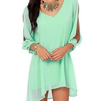 US-Lady Women Sexy Off Shoulder V-neck A-line Strapless Loose Casual Dress