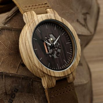 2017 BOBO BIRD Watch Wooden Zebra Pattern Men Watches Quartz Genuine Leather band Wristwatch