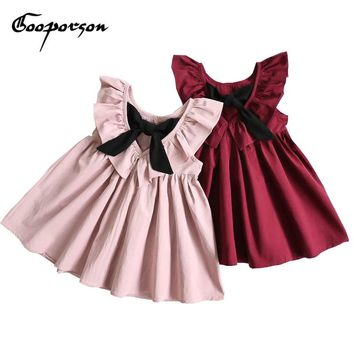Baby Girls Dress Fashion Wine/Pink Color Kids Girls Summer Dresses Backless Bow Clothes Children Girl Party Dresses