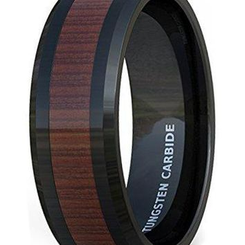 CERTIFIED 8mm Mens Wedding Band Black Tungsten Ring Wood Pattern Inlay Beveled Edge Comfort Fit
