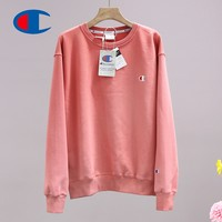 Champion fashion hot seller men and women small embroidered logo round collar long sleeve sweater