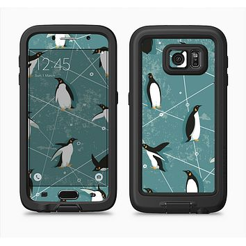 The Vintage Penguin Blue Collage Full Body Samsung Galaxy S6 LifeProof Fre Case Skin Kit