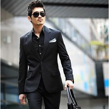 Men Business Suit jackets Sets Slim Fit Custom Fit Tuxedo Brand Fashion Bridegroom Men's Business Dress suit wedding